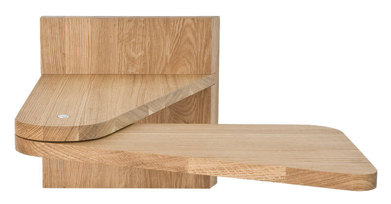 Contemporary Bedside Table Oak Wall Mounted Turntable By Therese Westman