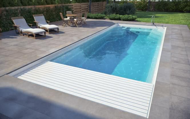 Automatic swimming pool cover - luxe-pools - security / slatted