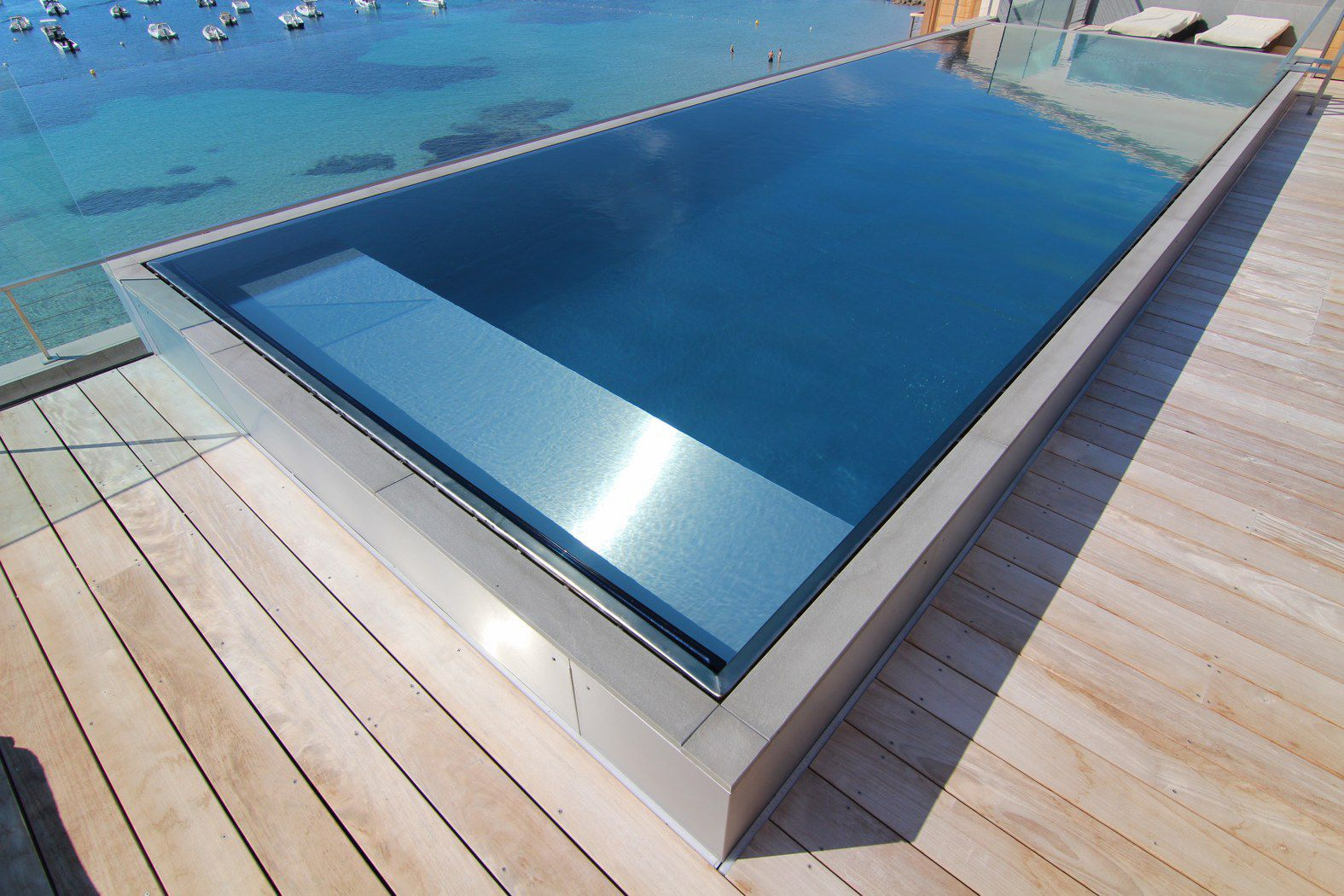 Semi-inground swimming pool / stainless steel / self-supporting ...