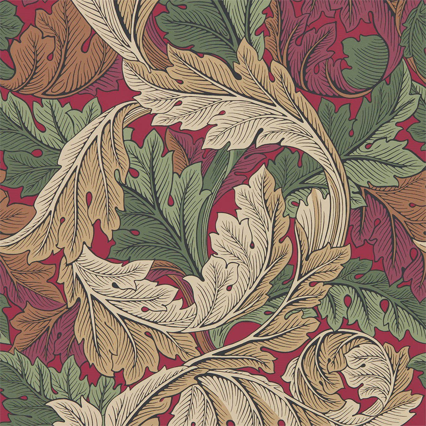 Traditional Wallpaper Floral Acanthus Morris Co