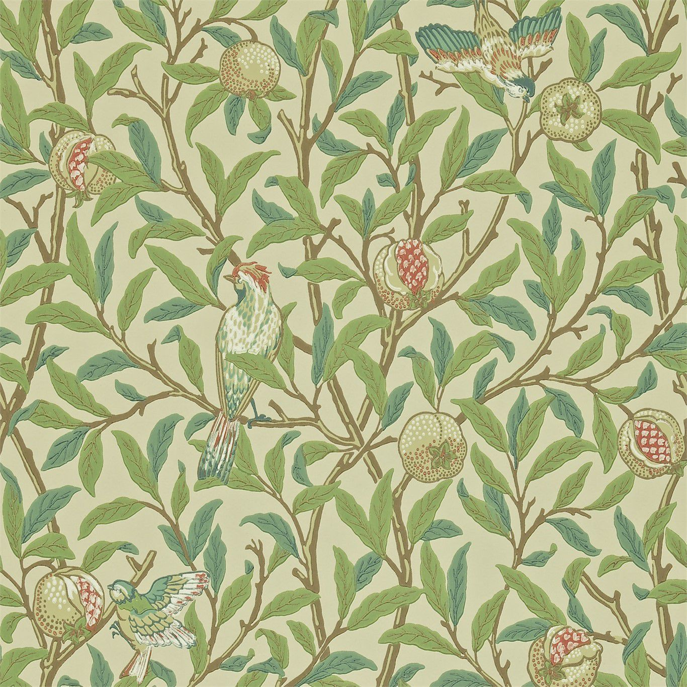 Traditional Wallpaper Floral Printed Bird And Pomegranate