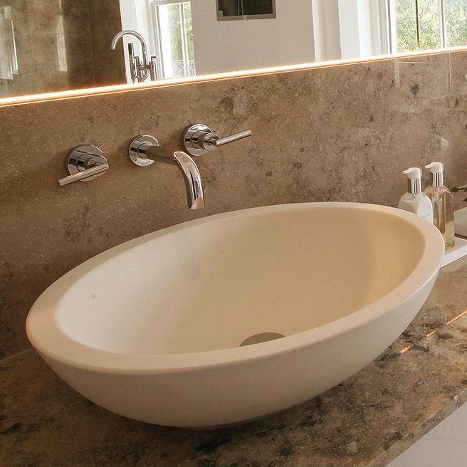 Countertop Washbasin Oval Composite Stone Large Basin