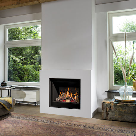 Gas Fireplace Contemporary Closed Hearth Built In Smart