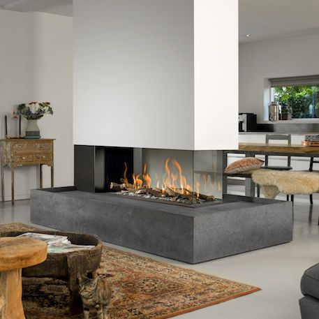 Gas Fireplace Contemporary Closed Hearth 3 Sided Room Divider
