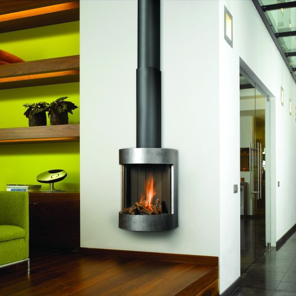 Gas Fireplace Contemporary Closed Hearth Wall Mounted Free Bell