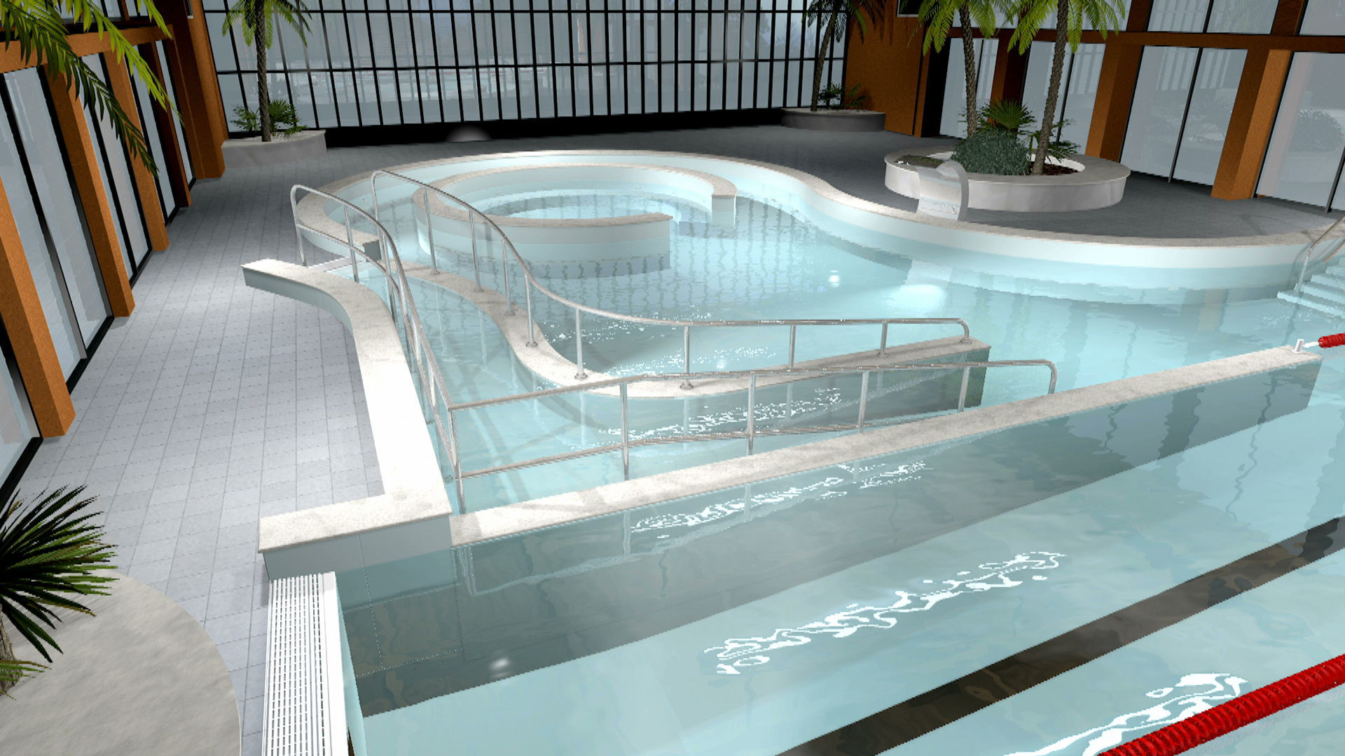 In-ground swimming pool / stainless steel / for hotels / custom MYRTHA  TECHNOLOGY Myrtha Pools