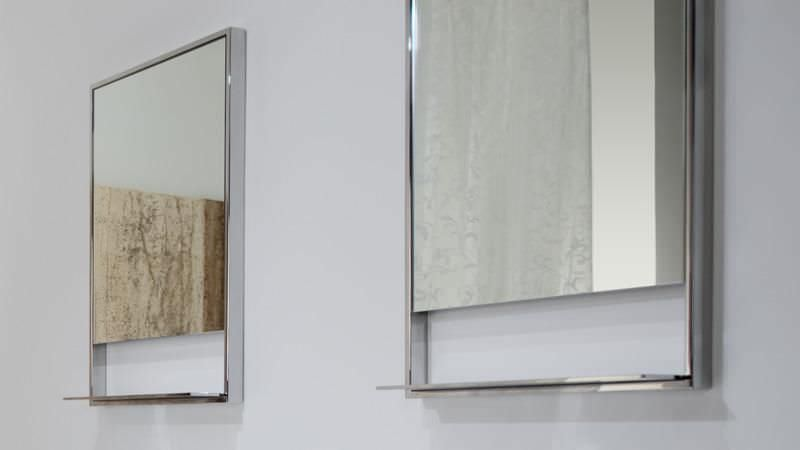 Wall Mounted Bathroom Mirror With Shelf Contemporary Rectangular C 2819