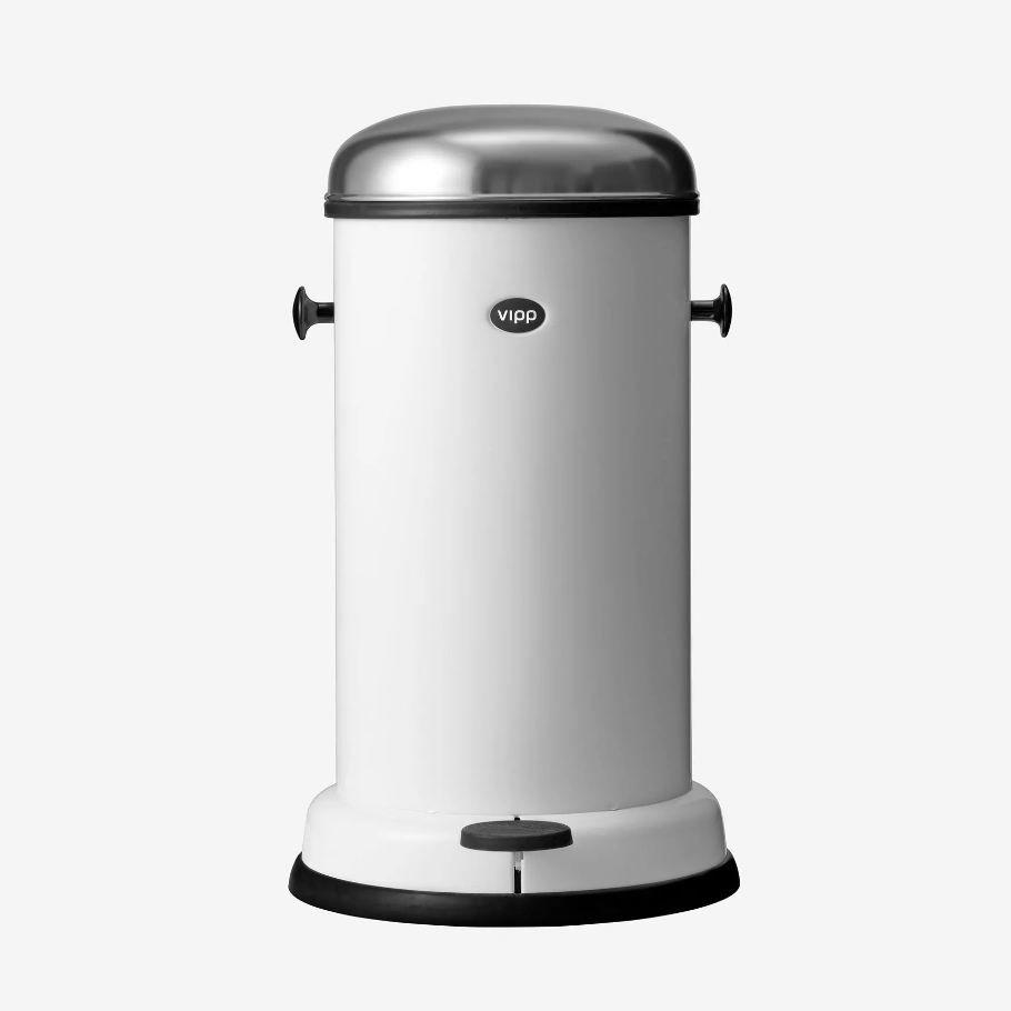 kitchen trash can / stainless steel / foot-operated / original design