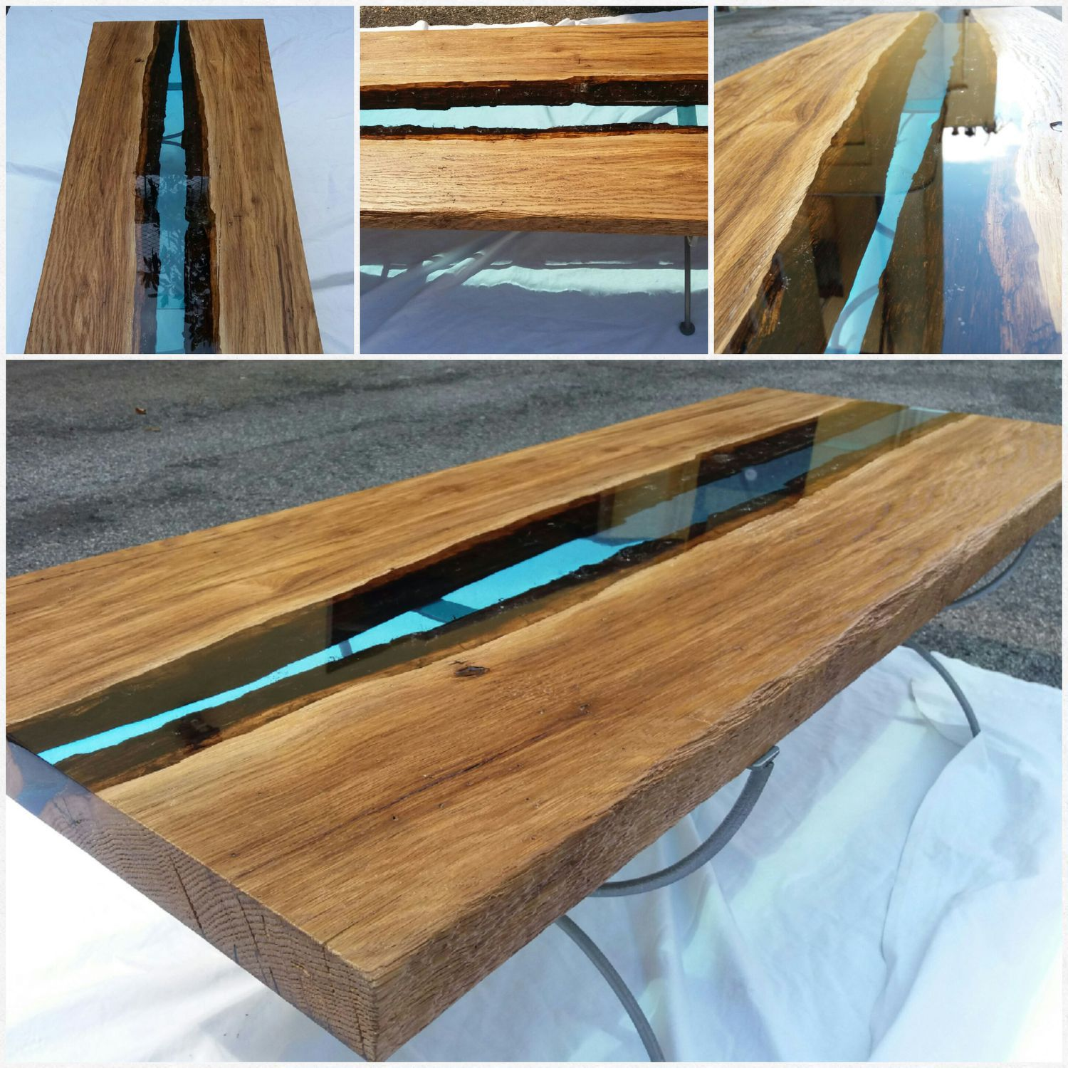 Contemporary Dining Table Wooden Epoxy Rectangular
