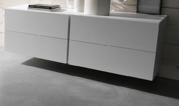 Wall Mounted Chest Of Drawers Contemporary Wooden White Filnox