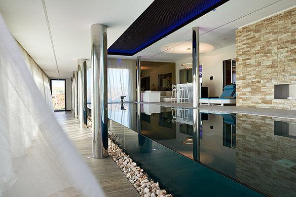 Semi Inground Swimming Pool Glass Stainless Steel
