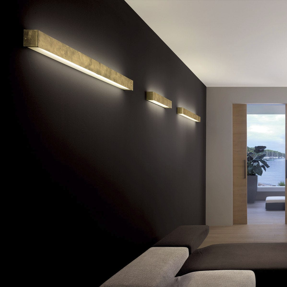 Contemporary Wall Light Box Oty Metal Led Linear