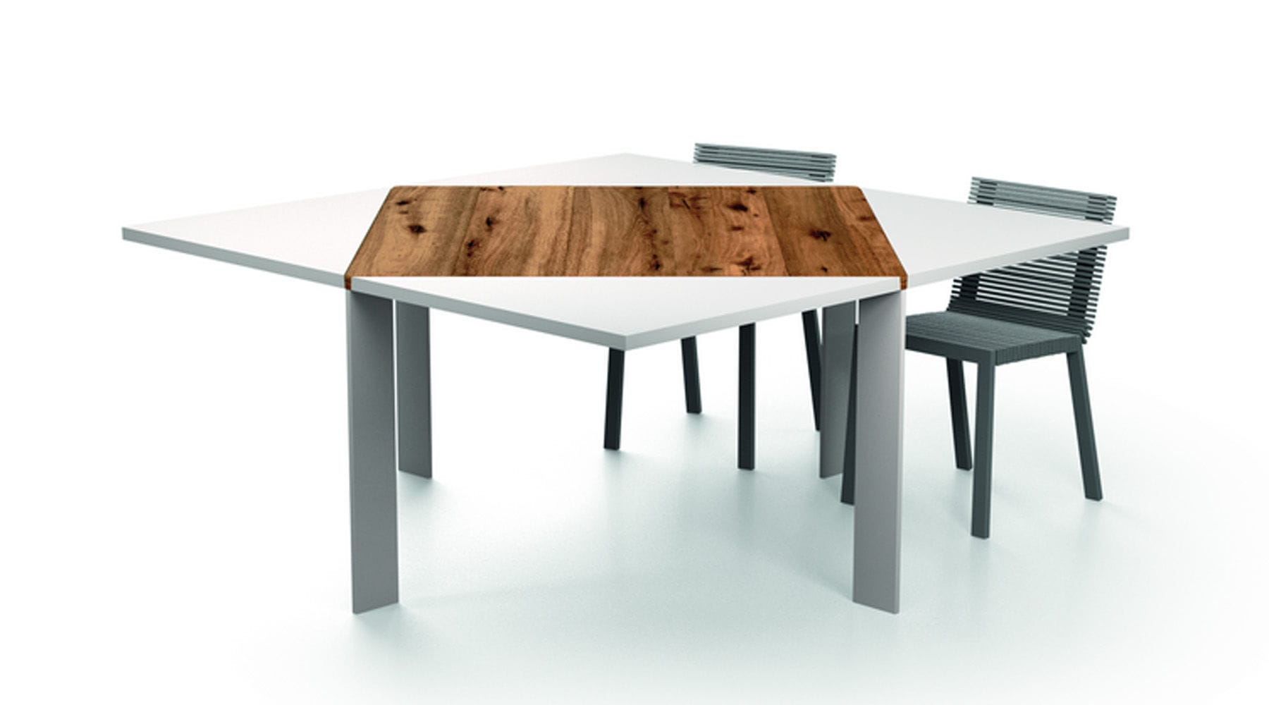 Contemporary Dining Table Wooden Square Extending