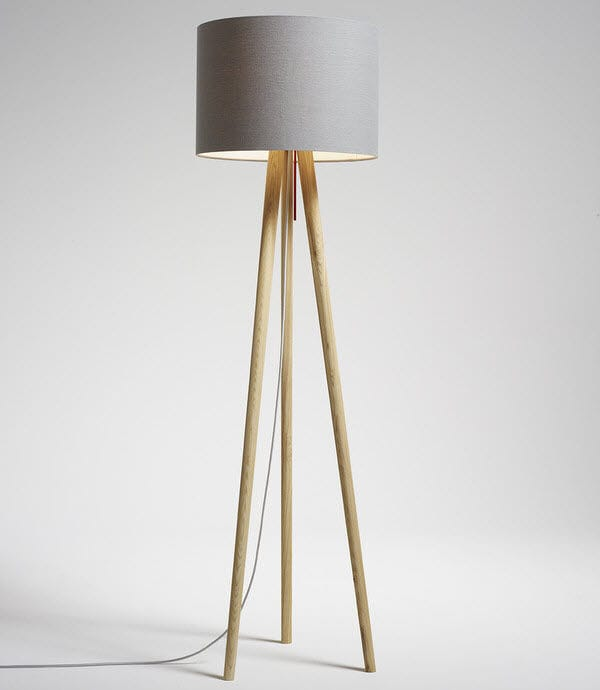 Floor Standing Lamp Contemporary Fabric Wooden