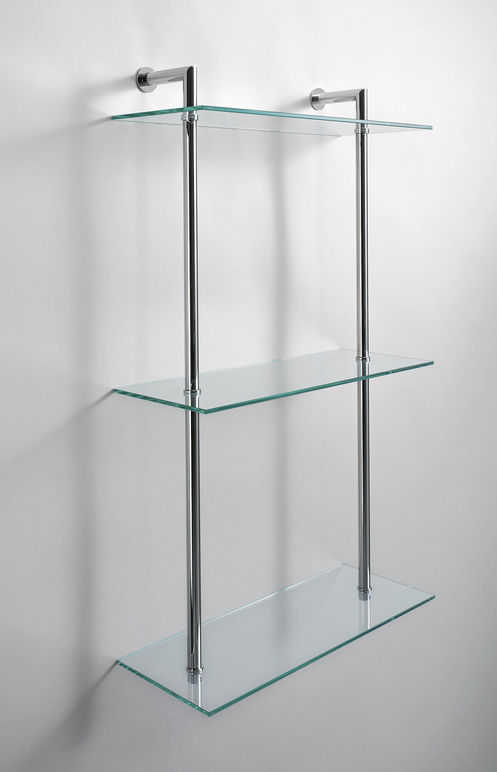 Fantastic Wall Mounted Shelf Contemporary Chrome Plated Brass Glass Home Interior And Landscaping Oversignezvosmurscom