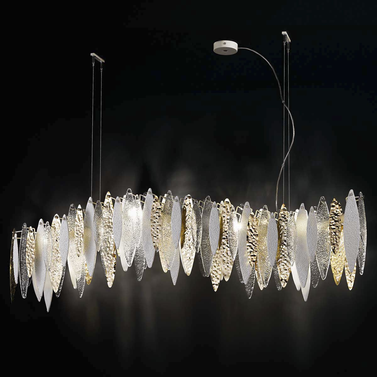 Pendant lamp / contemporary / metal / opalescent glass - ICE