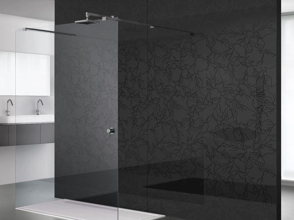Float Glass Panel Irami Rs Lac Black Vitrealspecchi Spa Patterned For Showers Lacquered