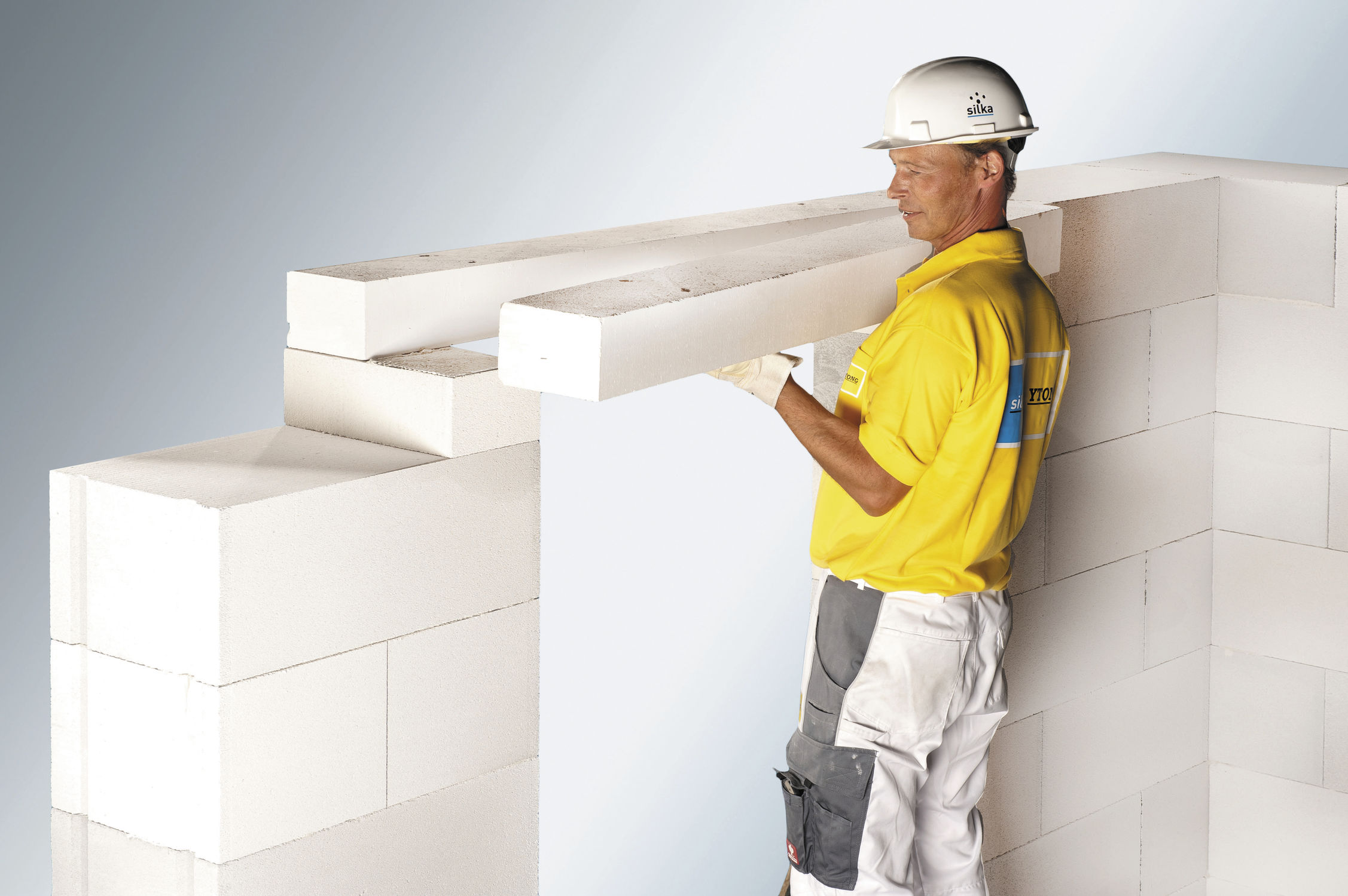 Lightweight concrete lintel / reinforced / load-bearing