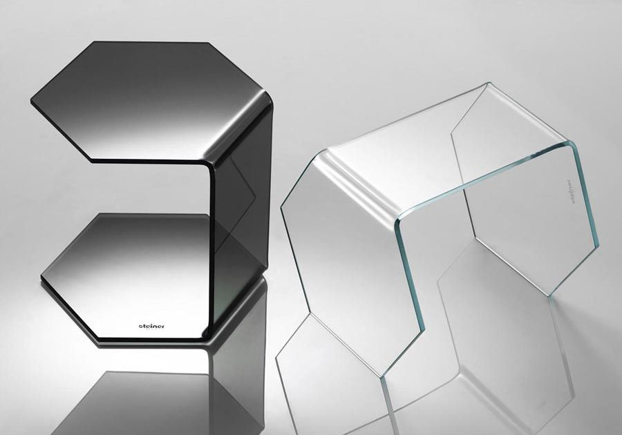 Contemporary Side Table Exagon Steiner Glass Tempered Glass Hexagonal