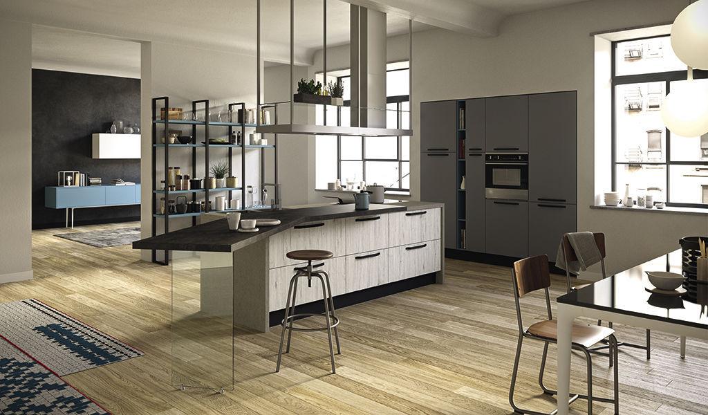 Contemporary Kitchen Polymer Island Matte Faro