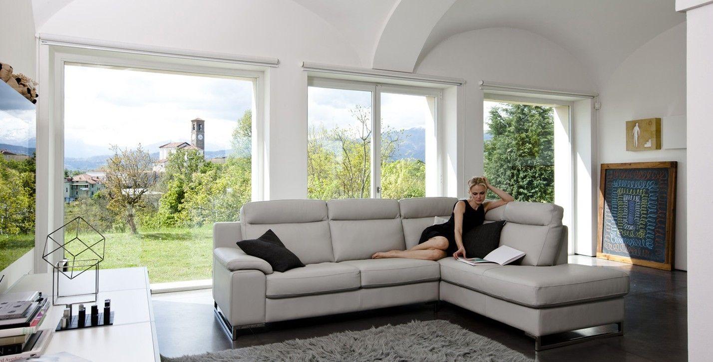 Alpa Salotti Prezzi.Corner Sofa Contemporary Leather Beige Henna Alpa
