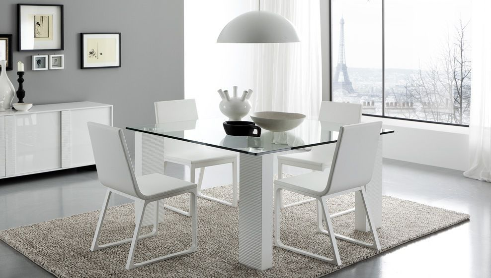 Tavolo Quadrato Allungabile Bianco.Contemporary Table Glass Square Rectangular Tween