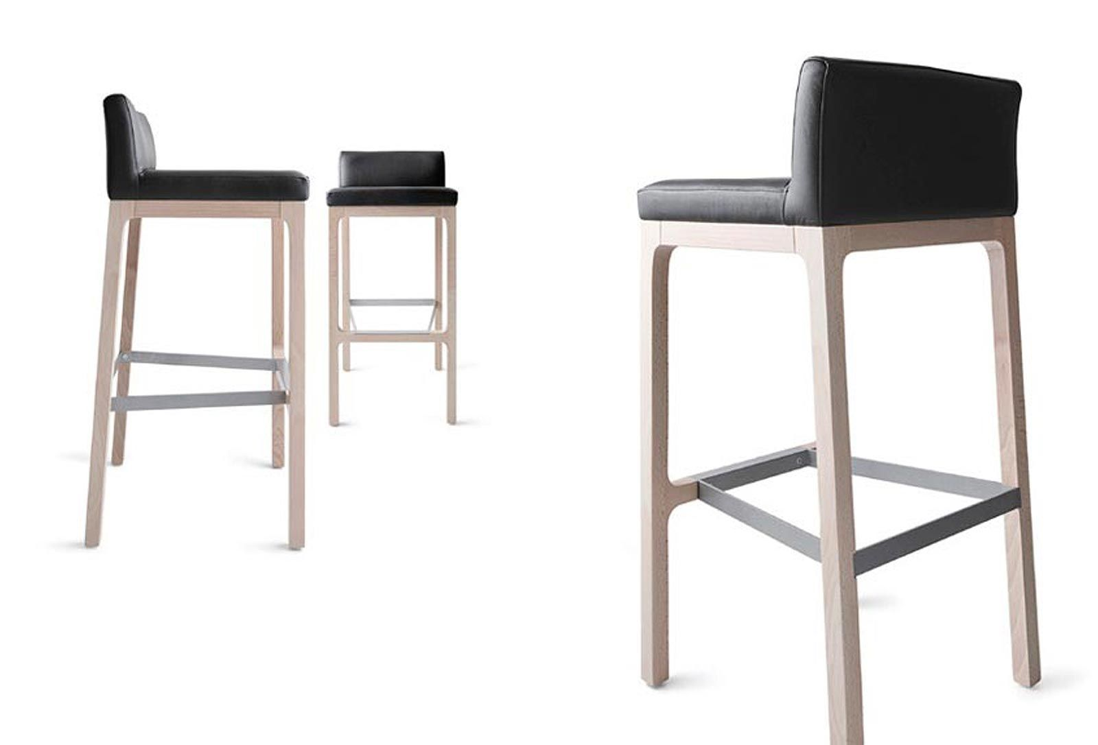Contemporary Bar Stool Solid Wood Leather Fabric