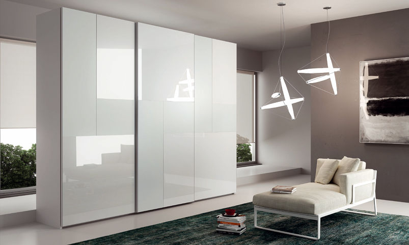 Armadio Ante Scorrevoli In Vetro.Contemporary Wardrobe Glass Lacquered Glass Sliding Door
