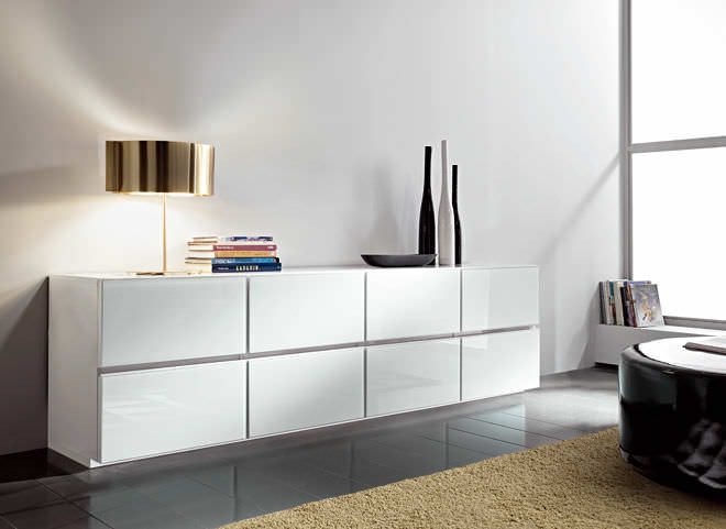 Mobili Bianchi Moderni.Contemporary Sideboard Wooden Lacquered Wood Nestos
