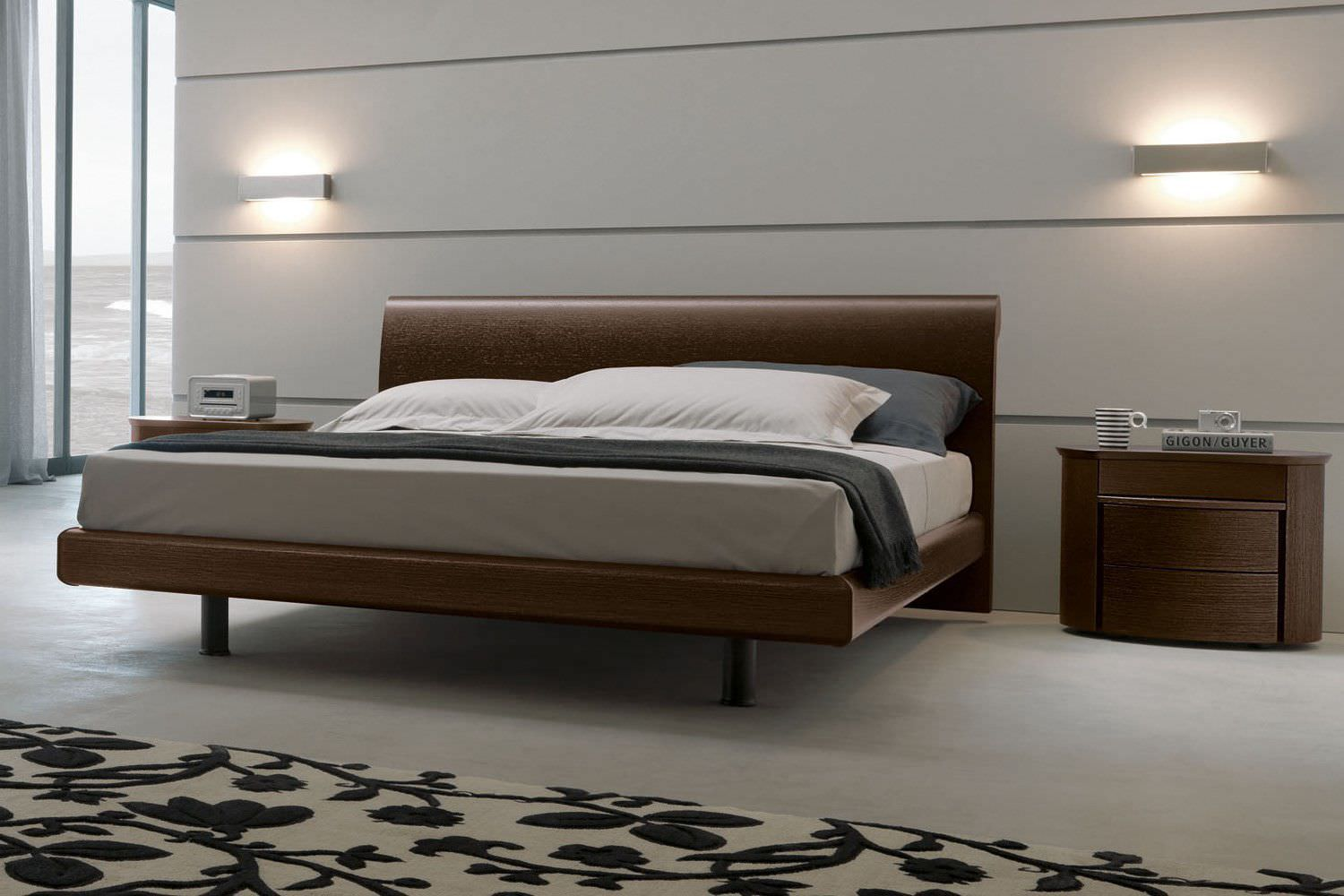 Letto Matrimoniale Maxi.Double Bed Contemporary Wooden Lacquered Wood Omra Napol