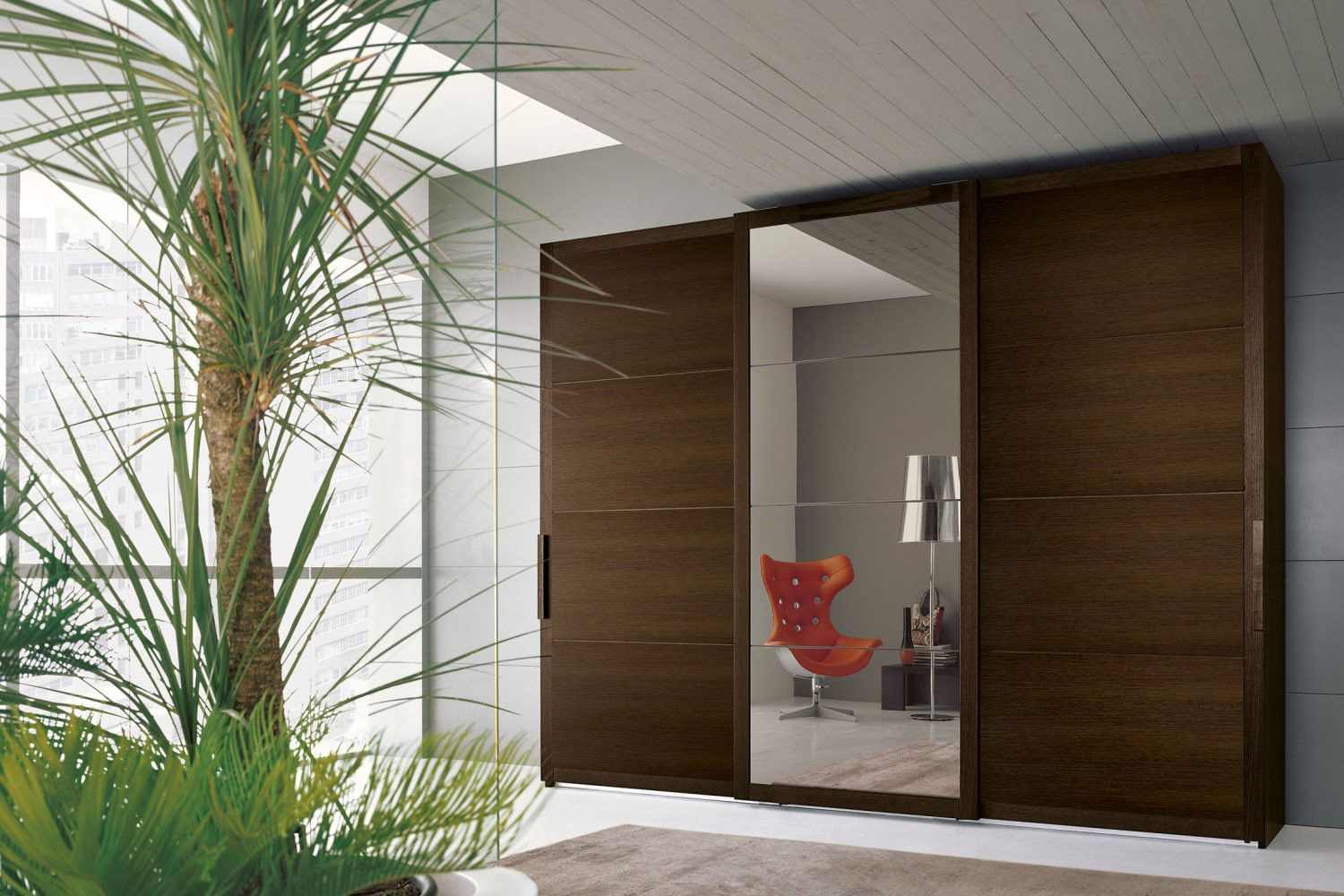 Contemporary Wardrobe Bai Napol Arredamenti Wooden Lacquered Wood Sliding Door