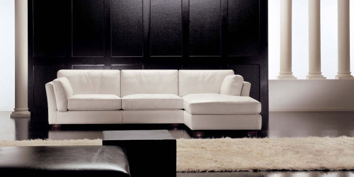 modular sofa / contemporary / leather / 3-seater - MANHATTAN