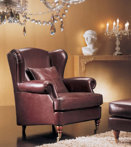 Poltrone Bergere In Pelle.Classic Armchair Leather Wing Bergere Bergy Cava