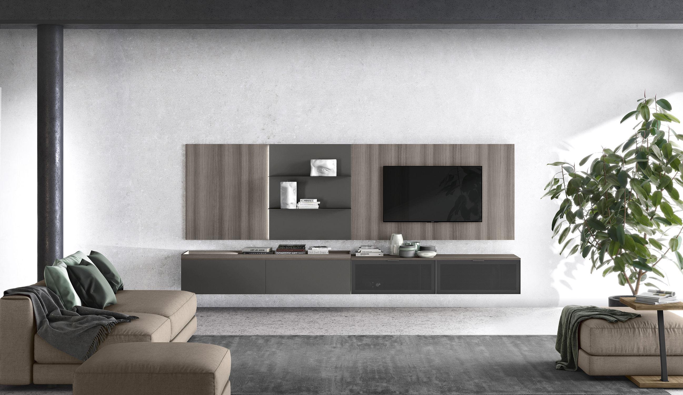 Contemporary Tv Wall Unit Vitalyty Luce C12 Colombini Metal Melamine Modular