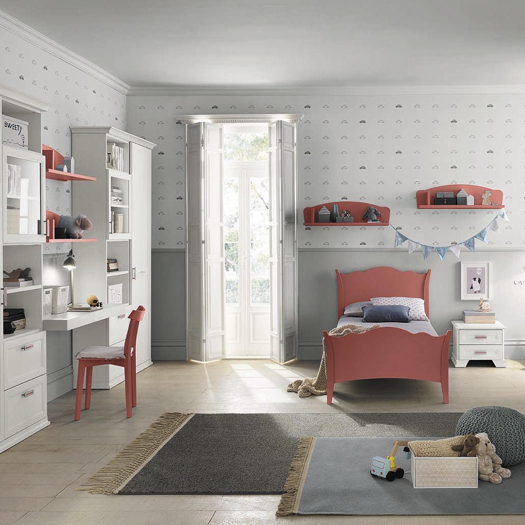 White Children S Bedroom Furniture Set Arcadia Ac203 Colombinicasa Red Melamine Unisex