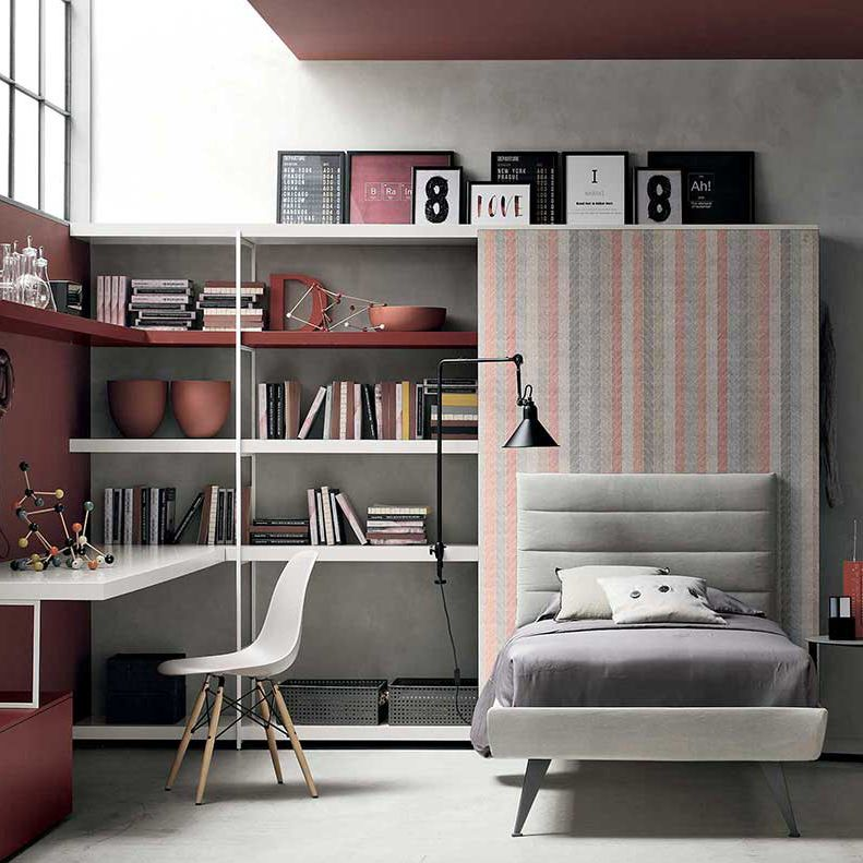 Gray children\'s bedroom furniture set / white / melamine ...
