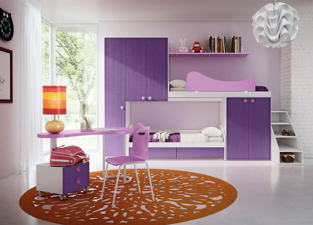 Purple Children S Bedroom Furniture Set Fiaba Cuccetto Rosso