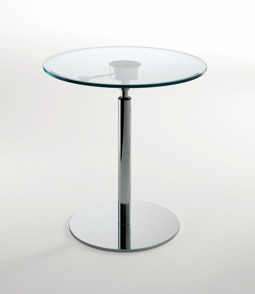Contemporary High Bar Table Gl Round Adjule Cayman By Studio Archirivolto