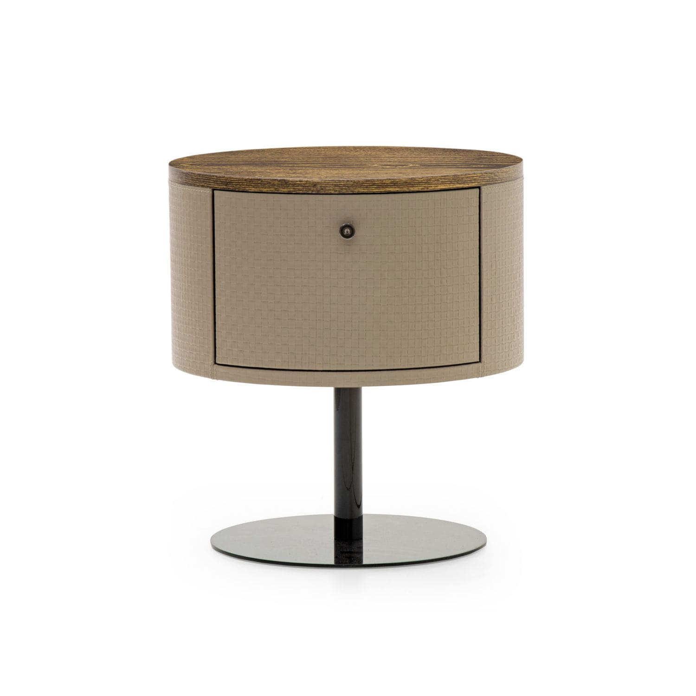 Contemporary Bedside Table Wood Veneer Leather Metal