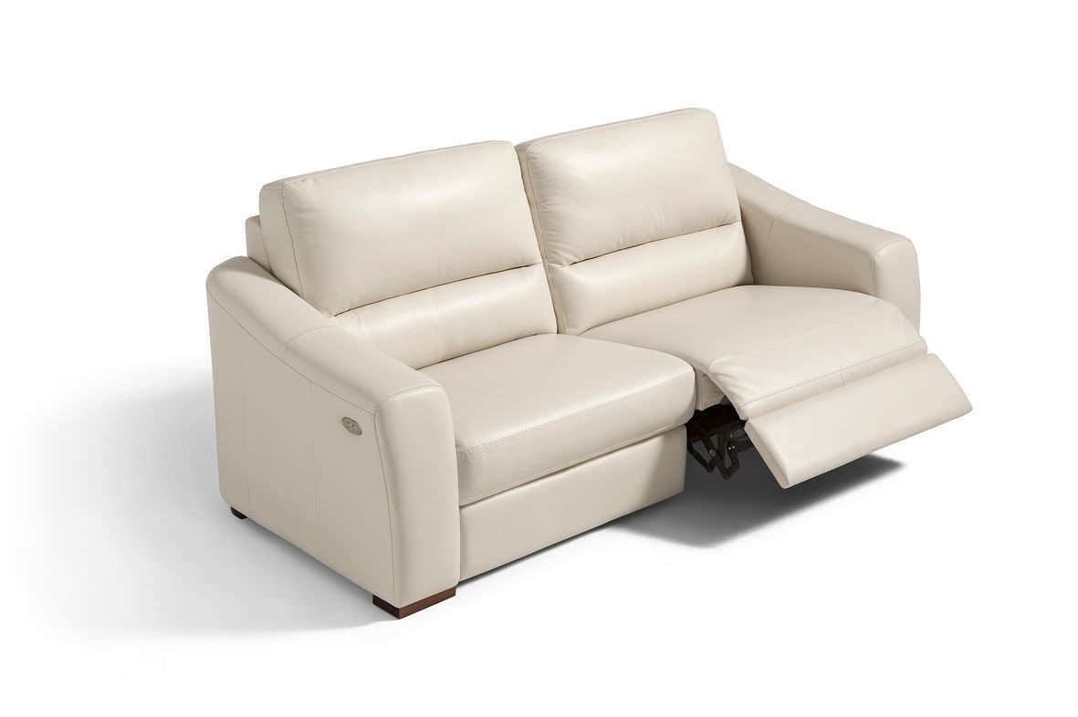 Contemporary Sofa Leather 3 Seater With Footrest