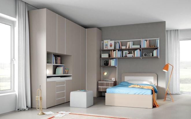 Gray children\'s bedroom furniture set - EVO 07 TERRA - Mistral
