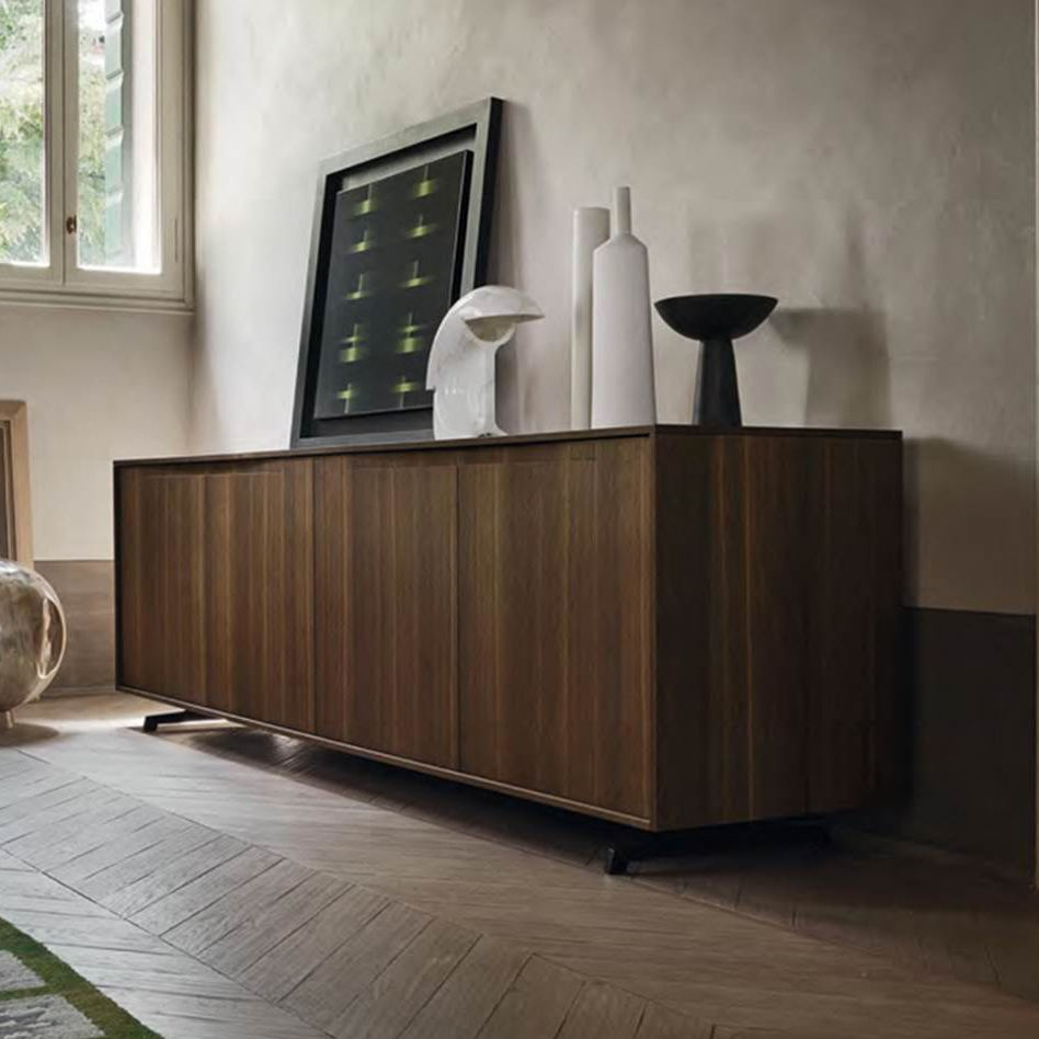 Contemporary Sideboard Wood Veneer Metal Glass Vela