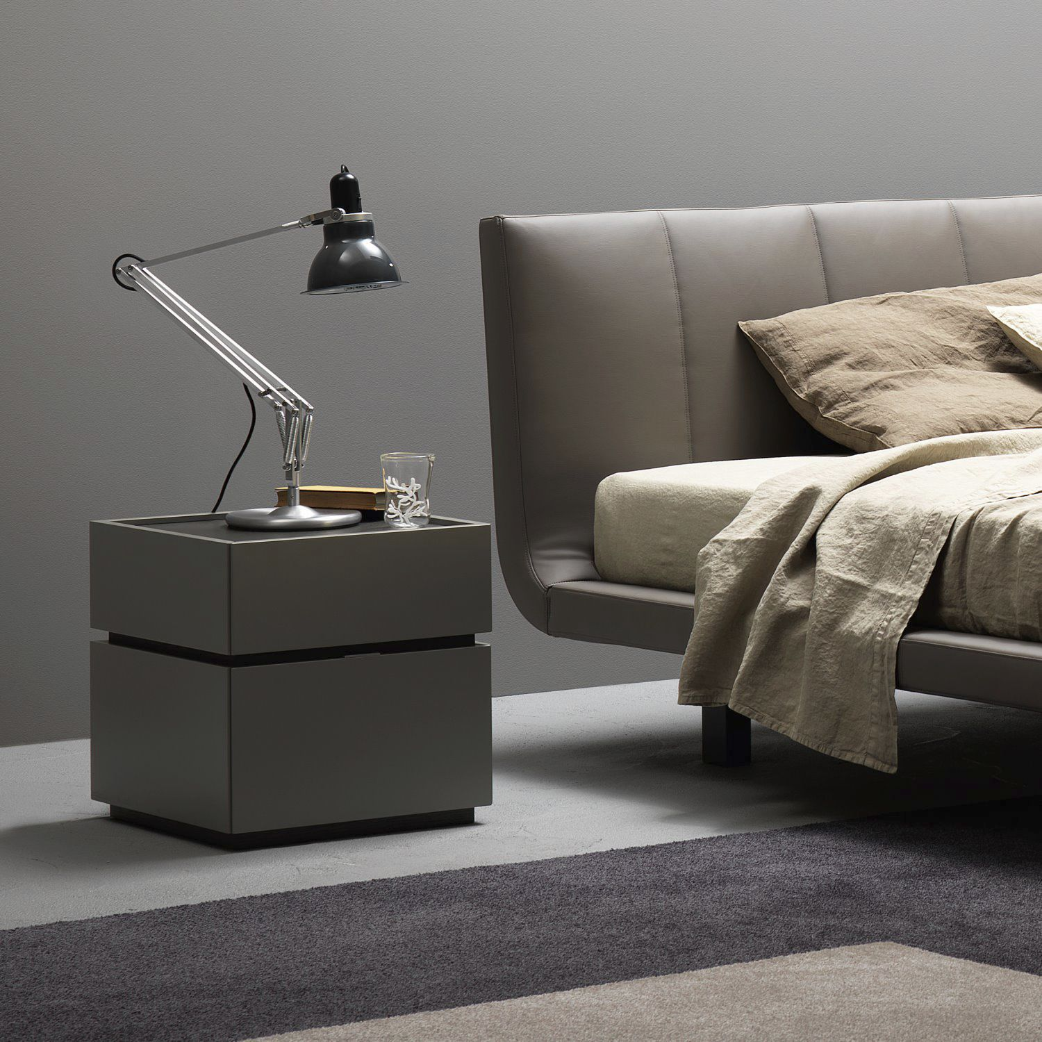 Contemporary Bedside Table Lacquered Wood Wood Veneer
