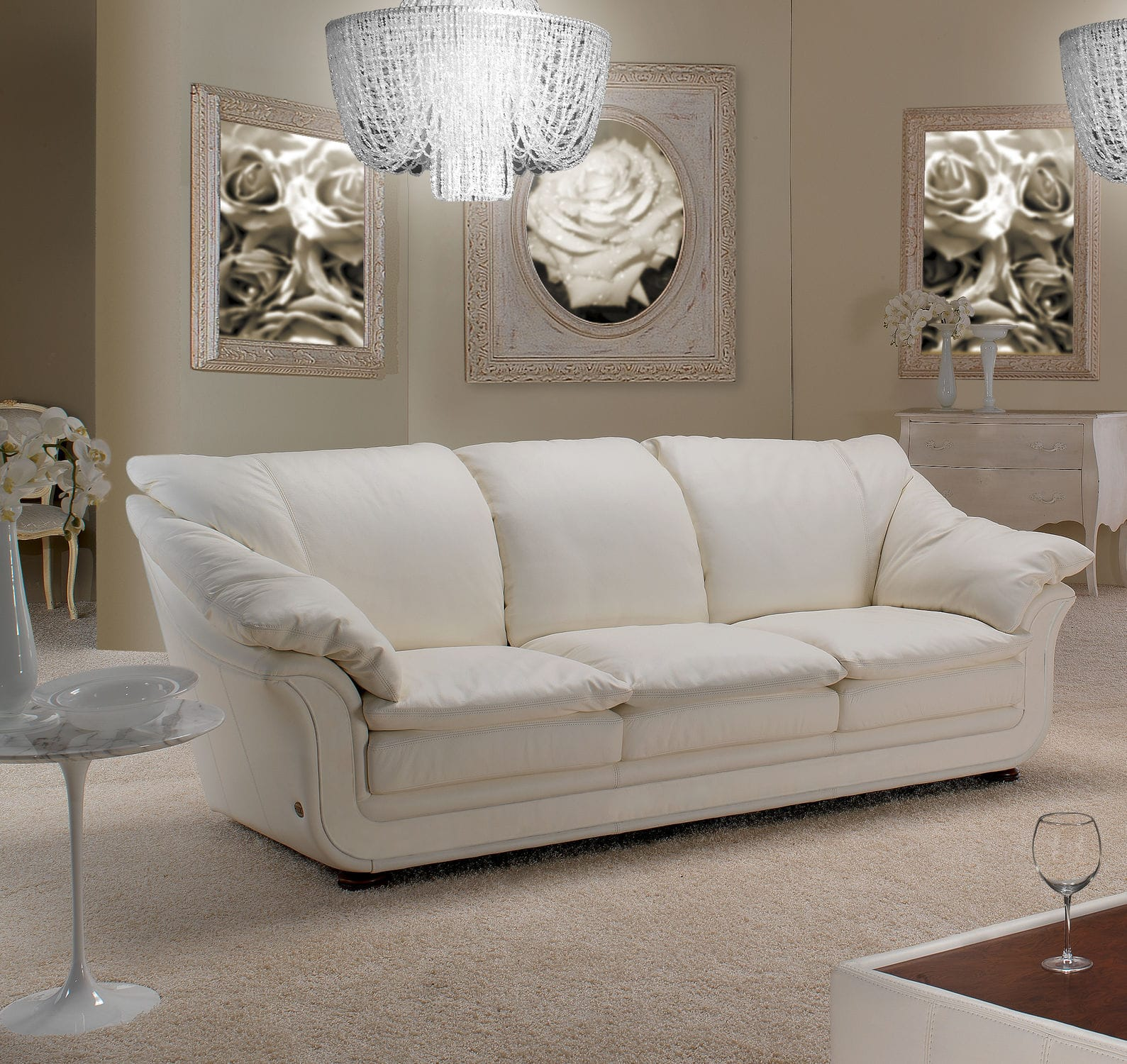 Corner sofa traditional leather fabric BENTLEY Nieri