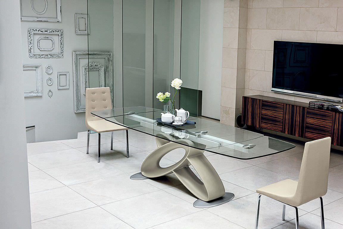 Contemporary table / tempered glass / aluminium ...