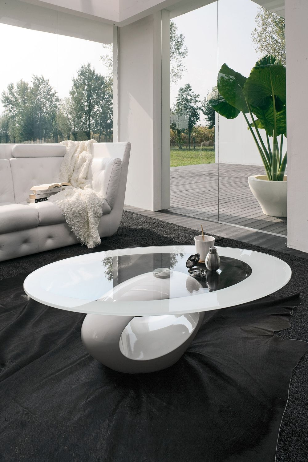 Contemporary Coffee Table Marble Tempered Glass Oval Dubai