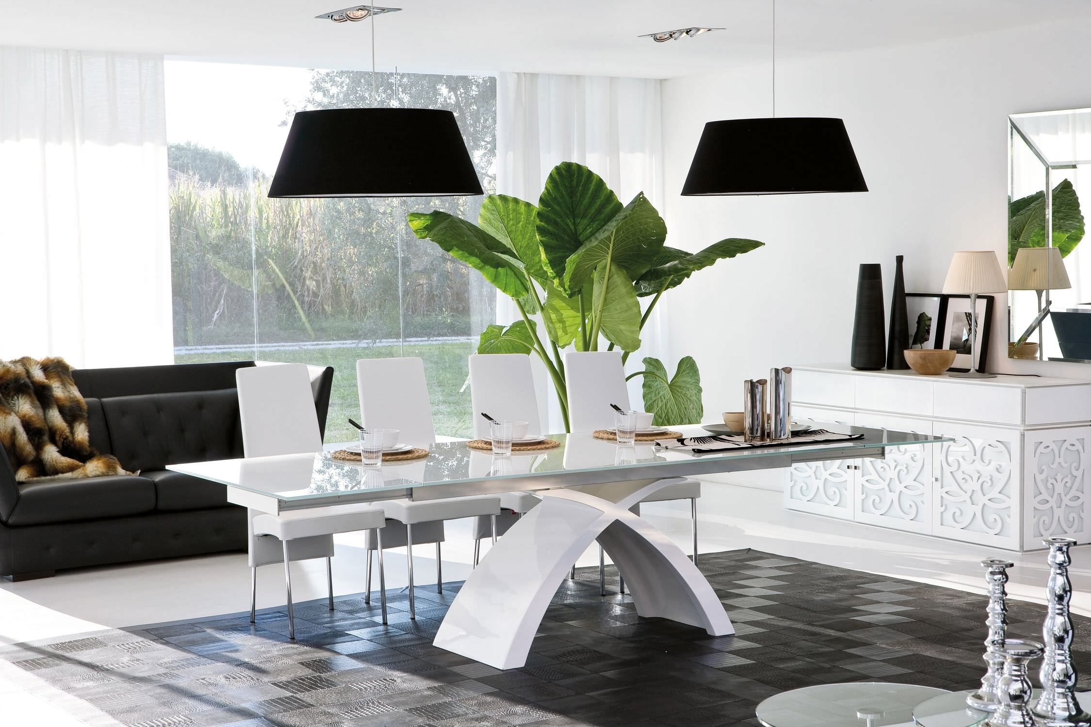 Contemporary Dining Table Wooden Marble Tempered Gl Tokyo