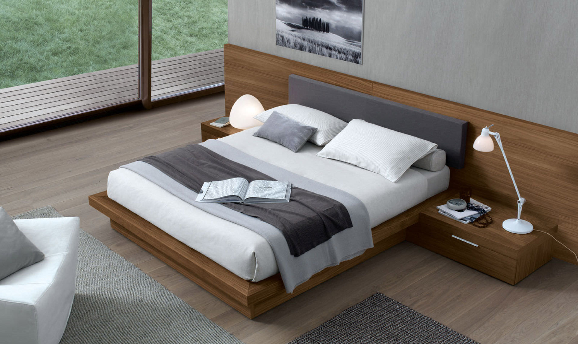 double bed / contemporary / with integrated bedside table / oak Double Bed Side Table Designs