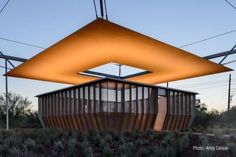 Tensile canopy / metal frame / cable-and-membrane / roof - SKYSPACE