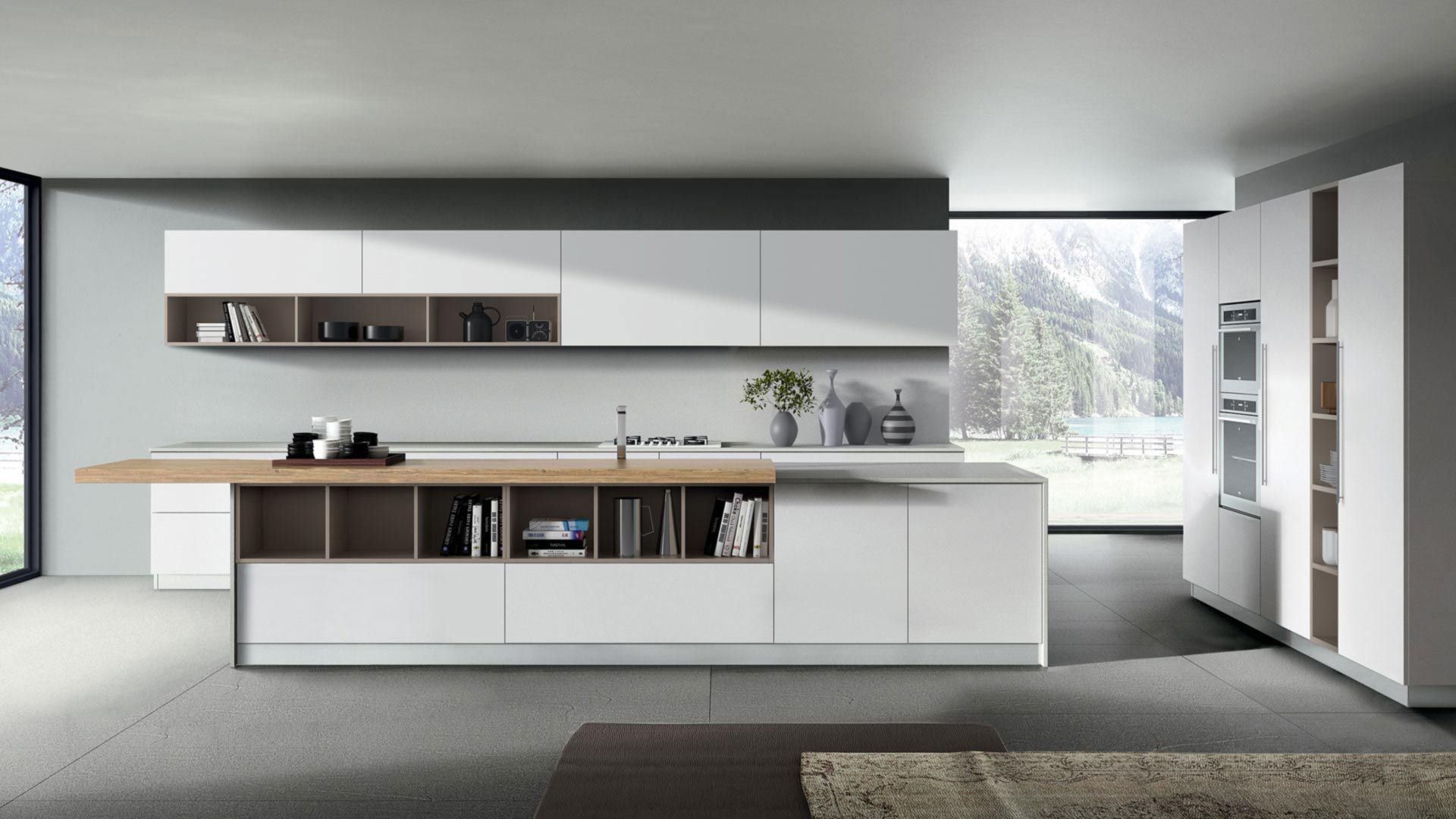 Contemporary Kitchen Kappa Composition 02 Armony Cucine Melamine Island Lacquered